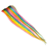 Rainbow Hair Extensions - Vertical Striped Pastel Clip-In Human Hair wefts wigs streaks highlights
