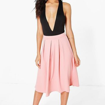 Beau Scuba Box Pleat Midi Skirt | Boohoo