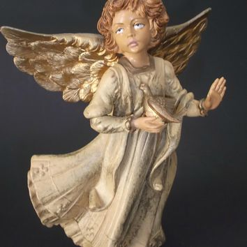 Angel Figurine with Dove Painted Gold Gilt Wings Vintage Italy Heavy Thick Resin