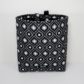 Quilted Auto Trash Bag / Car Trash Bag / Car Accessories / Car Organizer / Litter Bag with Adjustable Strap, Buckle and Vinyl Lining
