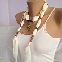Cream Jewelry Scarf - Cotton Beaded Scarf Necklace - Gypsy Style Bohemian Scarf - Charm Necklace Scarf