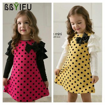 BBYIFU 2017 New spring Autumn Dot Pattern Printed Girls Dresses Children Clothes Girls Kids Princess Long Sleeves Clothes Baby