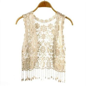 Women Knitted Crochet Sexy Vest Tank Top Tee Casual Stunning Girl Based Sleeveless Vest Black Beige One Size KH986709