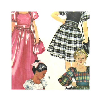 Vintage Girls Pattern McCalls 9370 Girls Long or Short Party Dress Gown  Flower Girl Sash and Bag Size 6 1980s