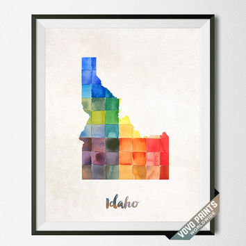 Idaho Map, Print, State, Boise, Artwork, Decor, Poster, Kitchen, Dorm, Bedroom, USA, Wall Art, Gift, Painting, United States [NO 13]