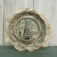 Vintage PARIS Eiffel Tower carved plate rhinestones shabby chic Paris french wall decor