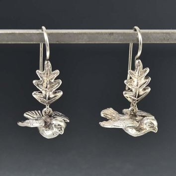 Vintage English Silver Dangle Dove Earrings