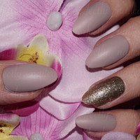 Nude Matte and Gold Glitter Handpainted False Nails • Fake Nails • Press on Nails • Stick on Nails
