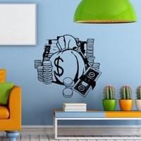 Wall Decals Money Cash Treasure Decal Vinyl Sticker Home Decor Bedroom Interior Window Decals Living Room Art Murals Chu1324