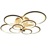 rings white finished chandeliers LED circle modern chandelier lights for living room