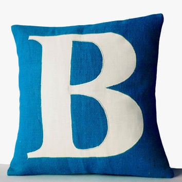 Initial Blue Burlap Pillow Cover With One Letter Custom Monogram For Personalized Home Decor