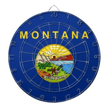 Dartboard with Flag of Montana, USA