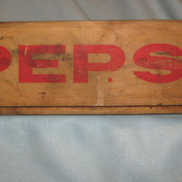 Vintage 60s Pepsi Wooden Crate, Collectible, Home Decor