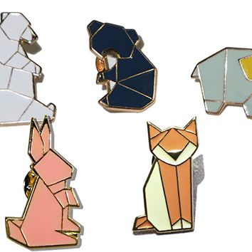 Fashion Geometric Cartoon Animals Enamel Brooches Pins Set Cute Brooches Pins for Clothes Bags Brooches for Wedding Lapel Pins