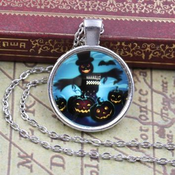 New Arrived Halloween scarecrow bat pumpkin Glass Cabochon Jewelry Crystal Cabochon Glass Chain Necklace for Women Girls Gift