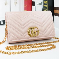 GUCCI New fashion leather chain leisure shoulder bag women Pink