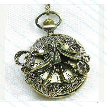 antique Steampunk octopus Pocket Watch Locket Necklace