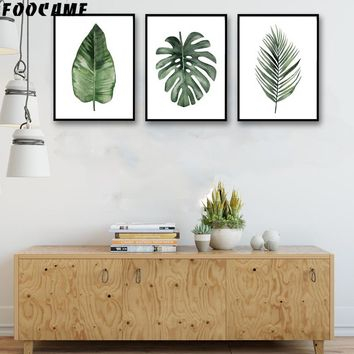 FOOCAME Watercolor Plant Leaves Monstera Nordic Posters and Prints Art Canvas Painting Home Decor Wall Pictures For Living Room
