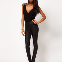 ASOS Skinny Trousers in Leather Look with Panels at asos.com