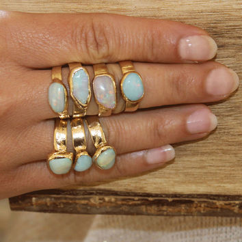 Raw Opal Ring, Gift For Her, Raw Stone Ring, Stackable Gemstone Ring, Solitaire Ring, Australian Opal Ring, Unique Design By Inbal Mishan.