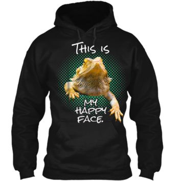 This Is My Happy Face Bearded Dragon Funny Reptile  Pullover Hoodie 8 oz