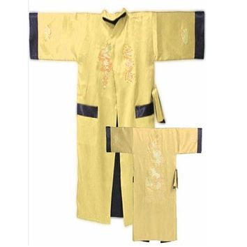 Hot Sale Gold Black Chinese Male Silk Satin Reversible Robe Gown Two-Sided Nightwear Vintage Embroidery Kimono Gown One Size
