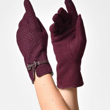 Cranberry Purple Wool Polka Dot Zara Gloves