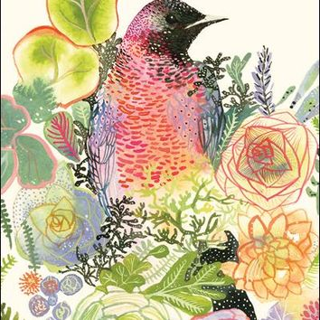Grackle and Succulents Sympathy Card