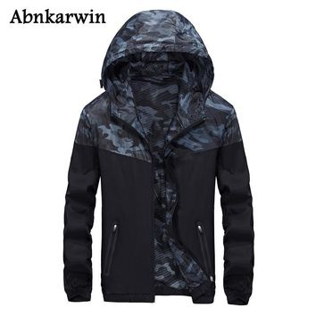 Trendy Abnkarwin Casual Men's Black Jackets Thin Mans Windbreaker Hoodie Jacket Patchwork Camouflage Nylon Jackets Plus Size L-5Xl AT_94_13