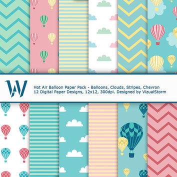 Hot Air Balloon Digital Paper, clouds, balloons, chevron and stripes, use for backgrounds, scrapbooking, card making, gift tags, diy parties