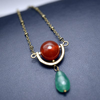Bronze Red Carnelian Long Chain Cresent Moon Geometrical Green Chalcedony