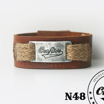 Leather Bracelet with Handmade Buckle -  Wristband Cuff - Unisex Bracelet - Rustic, Country Design - Custom Size - Free Shipping