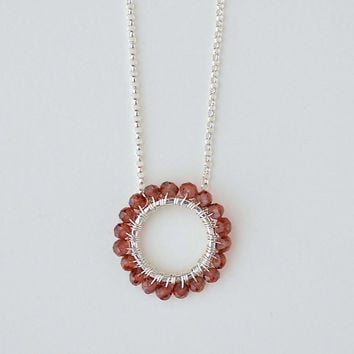Garnet Circle Necklace Sterling Silver, January Birthstone Jewelry, Push Present, Push Gift New Baby, Wreath Necklace