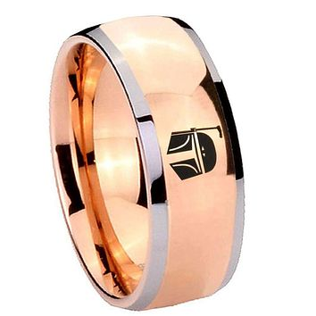 8MM Rose Gold Dome Star Wars Boba Fett Sci Fi Science 2 Tone Tungsten Laser Engraved Ring