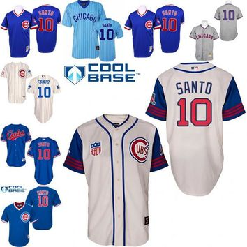 2016 World Series Champions patch Ron Santo baseball Jersey , Men's #10 Majestic Chicago Cubs 1929 1942 Turn Back The Clock 1994