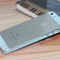 Bumper Side Luxury Glitter Bling Sticker Skin for Iphone 5 Diamond Blue Color