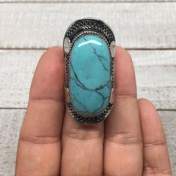 Antique Afghan Turkmen Tribal Oval Turquoise Inlay Kuchi Ring Statement,TR58