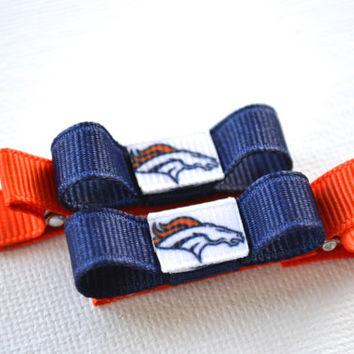 Denver Broncos Hair Clips - Toddler Hair Clips - Denver Broncos Bows - Denver Broncos Stocking Stuffer
