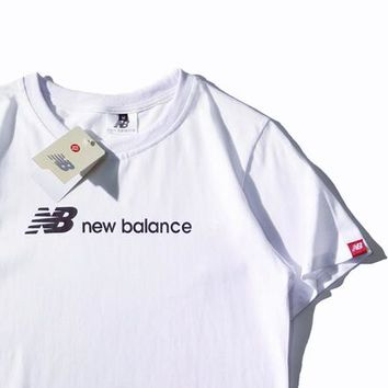 NB New Balance Tide brand classic men and women wild sports round neck short-sleeved T-shirt white