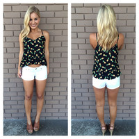 Black Pineapple Print Ruffle Tank