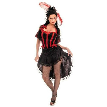 Women's Costume: Can Can - Black/Red | XL