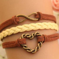 infinity bracelet,retro bronze love heart bracelet,yellow braid leather bracelet,brown rope---B294