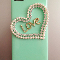 Mint gree love heart   iphone 4 case cover iphone 4s case iphone 5 case iphone 5 cover  samsung Galaxy S3 case