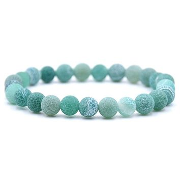 Naturally Weathered Frosted Amazonite Stone Beaded Bracelet - 8 Color Options