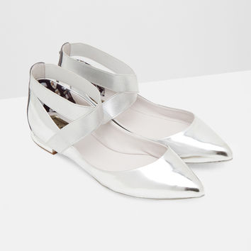 Elastic cross strap leather pumps - Silver Color | Shoes | Ted Baker