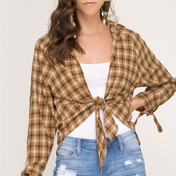 Long Sleeve Woven Plaid Top with Front Tie - Camel