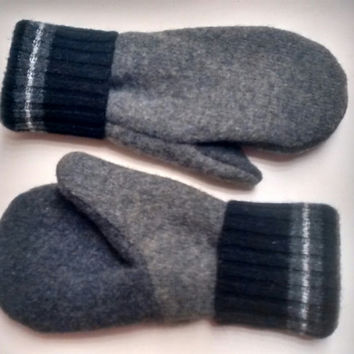 Etsy Men's Mittens, recycled sweaters, fleece lined mittens, felted wool mittens, etsy sweater mittens, felt mittens, felted wool