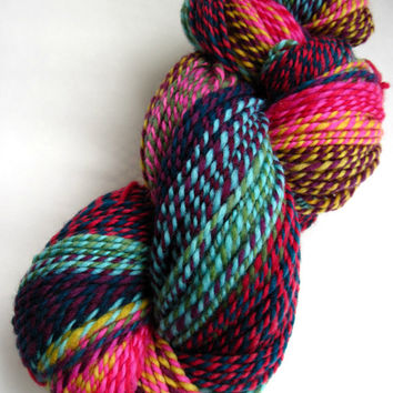 hand spun yarn, handspun yarn, hand dyed yarn, hand painted yarn, handpainted yarn, polwarth, 2 ply, patchwork, barber pole, worsted bulky