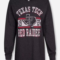 Texas Tech Metallic Banner on Heather Charcoal Long Sleeve Shirt