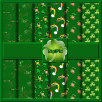 "COMMERCIAL USE OK 6 Digital St Patricks Day Shamrock  And Leprechaun Scrapbook Papers, 12""x12"" 300Dpi Instant Download"